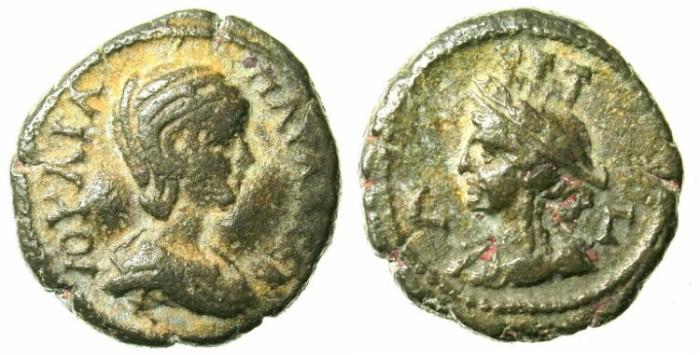 Ancient Coins - EGYPT.ALEXANDRIA.Julia Paula AD 219-221.Bi.Tetradrachma.AD 219-220.Bust of Alexandria.