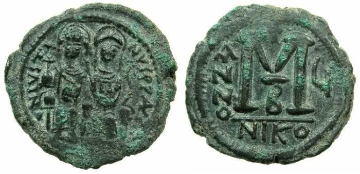 Ancient Coins - BYZANTINE EMPIRE.Justin II AD 565-578.AE.Follis,struck AD 570/571.Mint of NICOMEDIA.