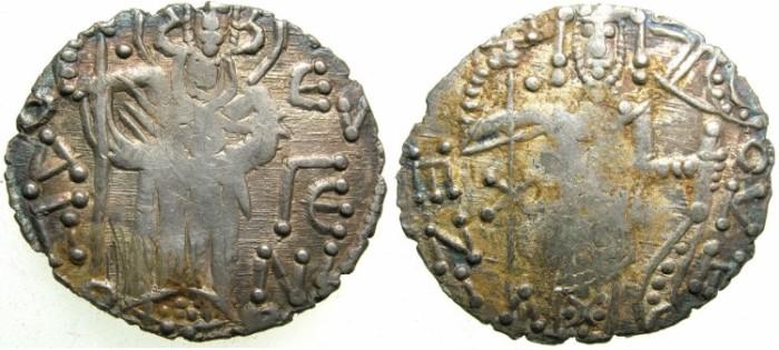 Ancient Coins - BYZANTINE.Empire of TREBIZOND.Manuel I Comnenus AD 1238-1263.AR.Asper.Saint Eugenios
