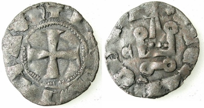 Ancient Coins - CRUSADER.ACHAIA.Mahault of Hainault AD 1316-1321.Bi.Denier.Type MA2