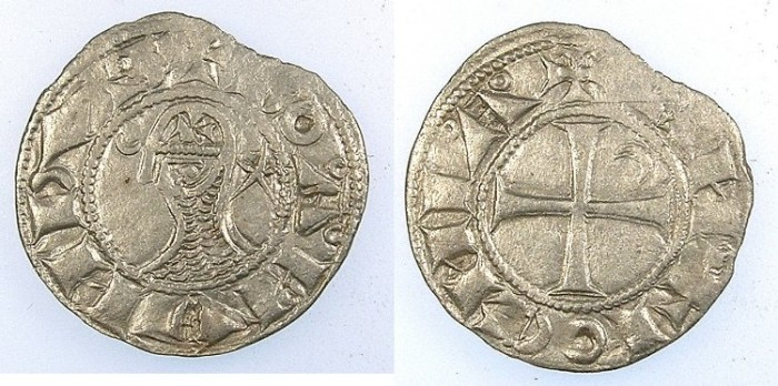 Ancient Coins - CRUSADER.Principality of Antioch.Bohemond III or IV c.1163-1233.Bi.Denier.class N.