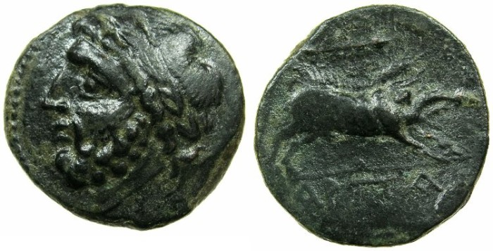 Ancient Coins - APULIA.ARPI.3rd cent BC.AE.20.8mm.Zeus.~#~.Kalydonian boar.