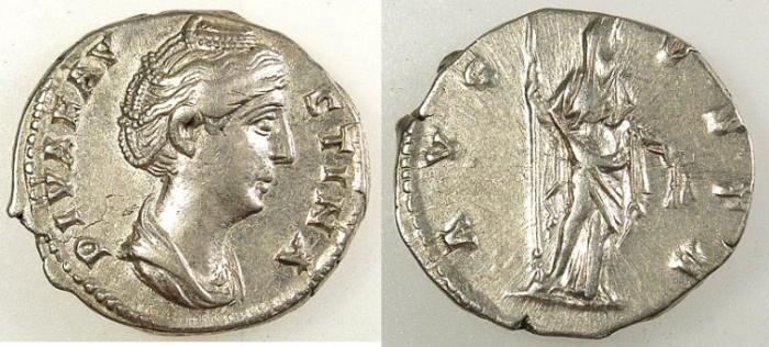 Ancient Coins - ROMAN.Faustina I died AD 141.AR.Denarius.Rev.Ceres.