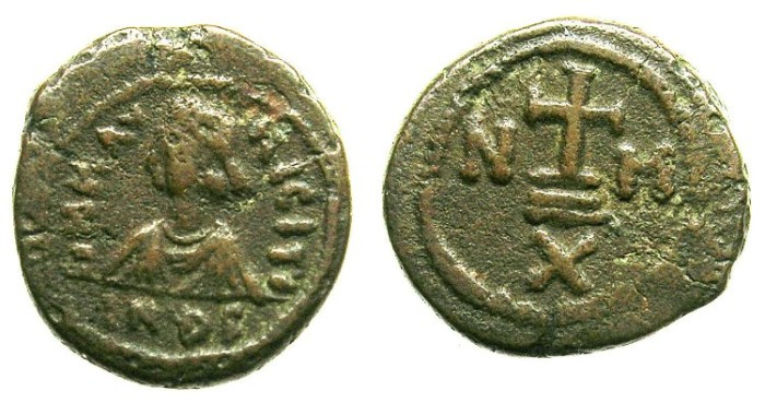 Ancient Coins - BYZANTINE EMPIRE.Maurice Tiberius AD 582-602.AE.Decanummium.Indiction  6.Mint of Constantinople.