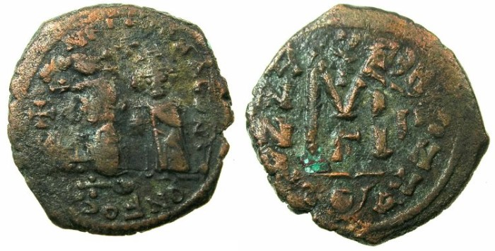 Ancient Coins - BYZANTINE EMPIRE.Heraclius AD 610-641.AE.Follis, struck AD 612/613?.Mint of CONSTANTINOPLE.