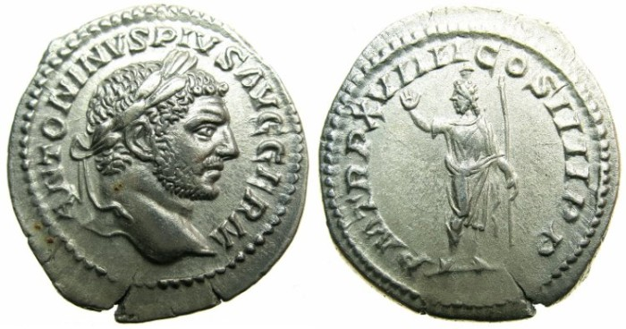 Ancient Coins - ROMAN.Caracalla Sole Emperor AD 212-217.AR.Denarius AD 216.~~~SERAPIS standing with Polos on head.