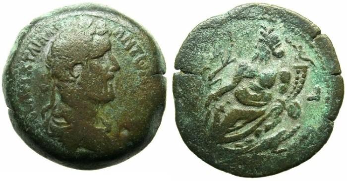 Ancient Coins - EGYPT.ALEXANDRIA.Antoninus Pius AD 138-161.AE.Drachma.Year 18.Nilus reclining.RETROGRADE DATE.