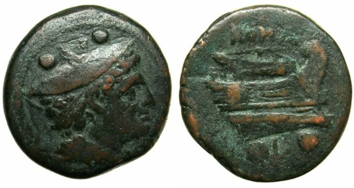 Ancient Coins - ROME.REPUBLIC.Anonymous Circa 215-212 BC.AE.Sextans.Mint of LUCERIA