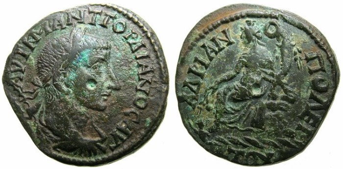 Ancient Coins - THRACE.HADRIANOPOLIS.Gordian III AD 238-244.AE.25.8mm.~#~.Unknown diety ( Tyche?) seated on rocks, swimmer below.