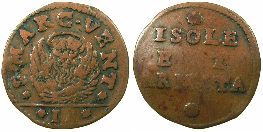 World Coins - ITALY.VENICE.Coinage for the Islands and Armed Forces.Anonymous.AE.Gazzetta.struck by decree 8th Feb.1686.