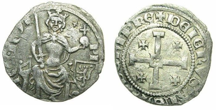 Ancient Coins - CRUSADER.CYPRUS.Peter I AD 1359-1369.AR.Gros Petit.