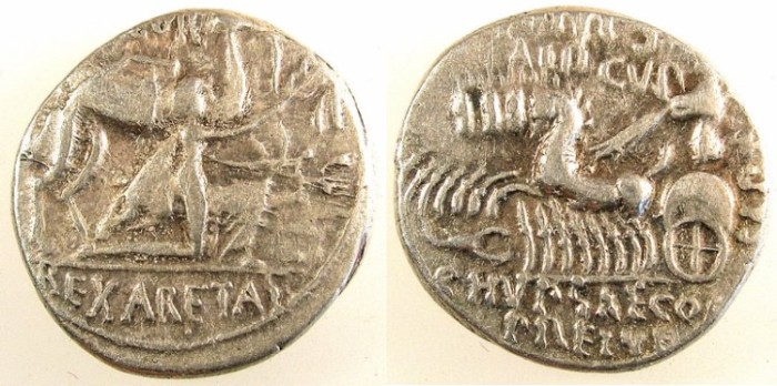 Ancient Coins - ROME.REPUBLIC.M.Aemilius Scaurus P Plautius Hypsaeus 58 BC.AR.Denarius.King Aretas.Jupiter