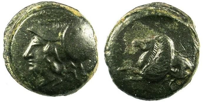 Ancient Coins - SICILY.SYRACUSE.c.400 BC.AE.Hemilitron.Athena.Rev.Hippocamp