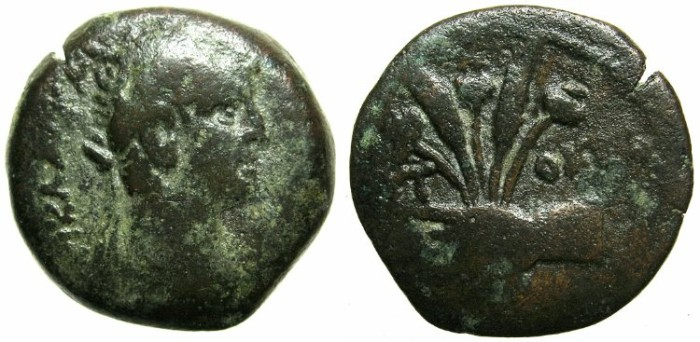 Ancient Coins - EGYPT.ALEXANDRIA.Claudius AD 41-54.AE.Obol.~~~Hand holding ears of corn and poppy heads.