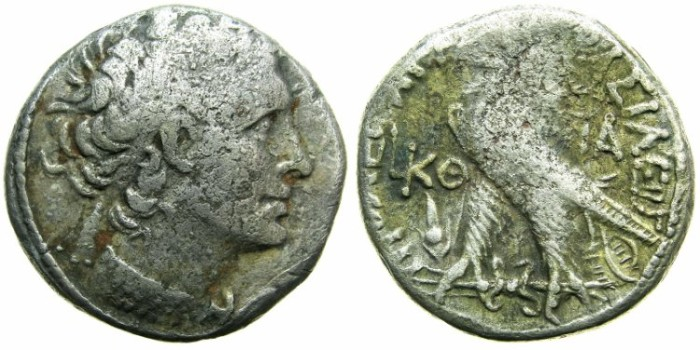 Ancient Coins - EGYPT.ALEXANDRIA.Ptolemy XII Neos Dionysios 80-51 BC, 2nd period of reign 55-51 BC.BillonTetradrachm.Struck 53/52 BC.