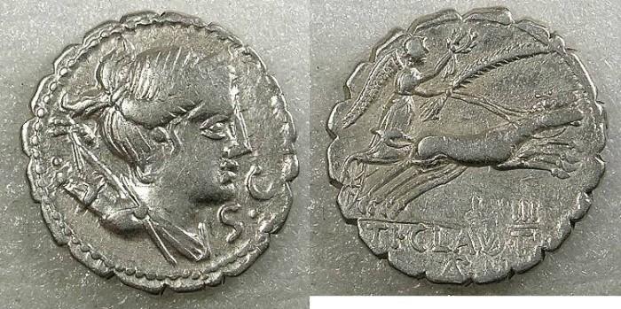 Ancient Coins - ROME Republic T.Claudius T.f.Ap.n.Nero 79BC AR Denarius Serratus
