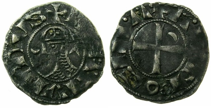 World Coins - CRUSADER STATES.Principality of  ANTIOCH. Bohemond III or IV c.1149-1233 Bi.Denier. Class F .