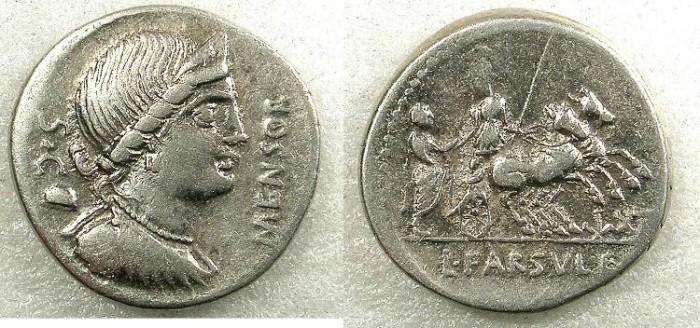 Ancient Coins - ROME Republic L Farsuleius Mensor 75BC AR Denarius