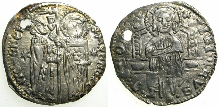 "Ancient Coins - ITALY.VENICE.Antonio Venier AD 1382-1400.AR.Grosso."""""" Pierced for suspension """""