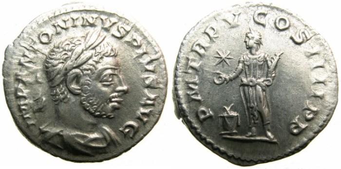 Ancient Coins - ROMAN.Elagabalus AD 218-222.AR.Denarius AD 222.~~~Elagabalus sacrificing over altar.