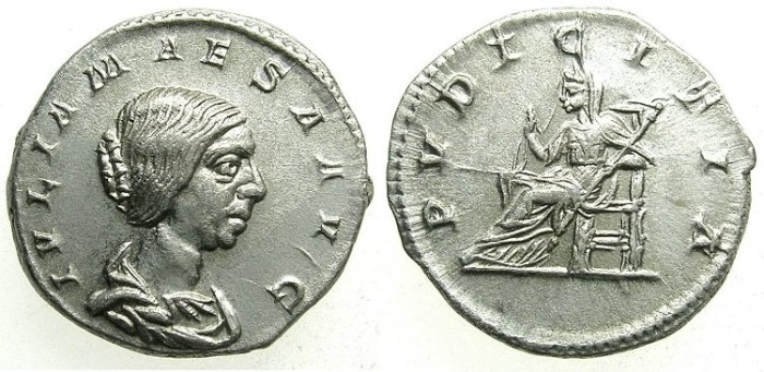 Ancient Coins - ROMAN.Julia Maesa, grandmother of Elagabalus and Severus Alexander.died C.225 AD.AR.Denarius.Mint of ROME.
