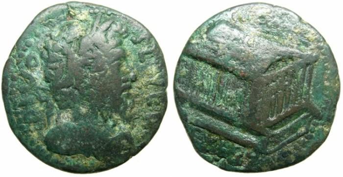 Ancient Coins - SYRIA.COELE-SYRIA.HELIOPOLIS.Septimius Severus AD 193-211, posthumus issue.AE.28.Temple of Zeus Heliopolitianus.