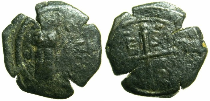 Ancient Coins - CRUSADER STATES.ANTIOCH.Roger of Salerno, Regent AD 1112-1119.AE.Follis.1st type.~~~Standing figure of Christ.