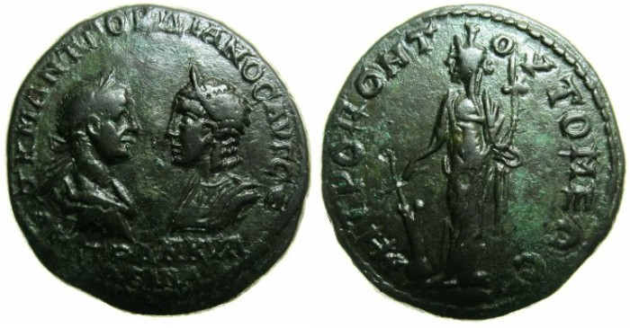 Ancient Coins - MOESIA INFERIOR.TOMIS.Gordian III ( AD 238-244 ) and Tranquillina AD 241-244.AE.27mm.~~~Tyche standing .