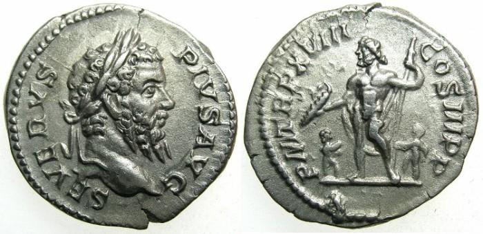 Ancient Coins - ROMAN.Septimius Severus AD 193-211.AR.Denarius AD 210.~~~Jupiter with two children.