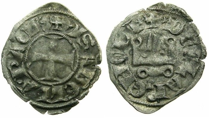 World Coins - CRUSADER STATES.Principality of ACHAIA.Isabella of Villehardouin AD 1289-1297.Billon Denier.Type Y2.