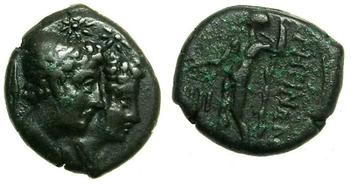 Ancient Coins - BRUTTIUM.RHEGIUM.Circa 203-89 BC.AE.Tetrantes.The Dioscuri.Asclepius.