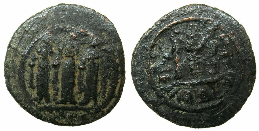 Ancient Coins - ARAB-BYZANTINE.TABARIYYA ( TIBERIAS ).Anonymous 7th cent AD.AE.Fals.