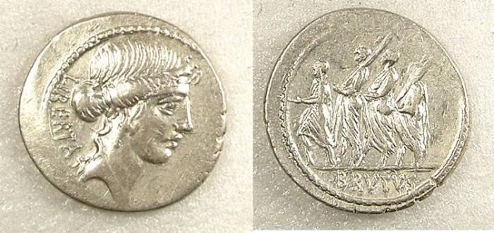 Ancient Coins - ROME Republic Brutus 54BC AR Denarius