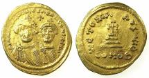 Ancient Coins - BYZANTINE EMPIRE.Heraclius AD 610-641.AV.Solidus.Mint of CONSTANTINOPLE. Facing busts of Heraclius with Heraclius Constantine.~#~.Officina I followed by Theta.