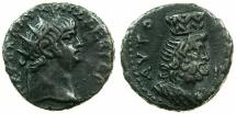 Ancient Coins - EGYPT.ALEXANDRIA.Nero AD 54-68.Bi.Tetradrachm, struck AD 63/64.~#~.Excellent bust of Serapis wearing modius on head.