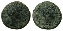 Ancient Coins - AEOLIS.TEMNUS.Gaius Asinius Gallus, Proconsul of Asia, 6-5 BC.AE.16.5mm.~~~Bust of Asinius Gallus.~#~.Bust of Dioysius.