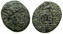 Ancient Coins - SYRIA.ANTIOCH.Pompeian Era, struck 54/3BC.AE light issue.20.9mm. ~~~Bust of Zeus ~#~Zeus enthroned holding Nike.