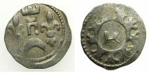 "World Coins - HUNGARY.Bela IV AD 1235-1270.AR.Dinar.Struck at a mint in Croatia.~#~.Hebrew letter "" TZADI """