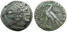 Ancient Coins - PTOLEMAIC EMPIRE.EGYPT.ALEXANDRIA.Cleopatra III and Ptolemy X Alexander I 107-101 BC.AR.Tetradrachm, struck  106/105 BC.~~~Double dated coin.