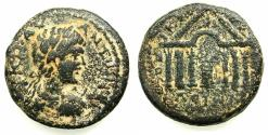 Ancient Coins - PALESTINE.DECAPOLIS.DIUM.Caracalla AD 198-211.AE.24mm.struck AD 208/9. Hexastyle temple with fire altar.