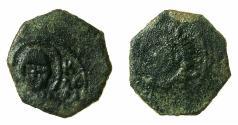 World Coins - BARI.Roger II of Sicily AD 1105-1154.AE.Follaro.struck AD 1139/1140. Bust of Saint Nicolas. *** Very Rare type***