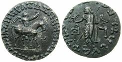 Ancient Coins - INDO SKYTHIAN.Azes circa 58-12BC.AR.Tetradrachm.~#~.Zeus Nikiphorus standing left.