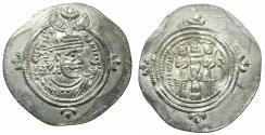 Ancient Coins - SASANIAN EMPIRE. Khusru II 2nd reign AD 591-628.AR.Drachm.Regnal Year 33.Mint YZ=Yazd.