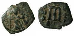 Ancient Coins - BYZANTINE EMPIRE.Constans II AD 641-668.AE.Follis.struck AD 641/42.Mint of CONSTANTINOPLE.