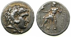 Ancient Coins - EGYPT.Mint of MEMPHIS.Ptolemy I as Satrap of Egypt 323-305 BC.AR.Tetradrachm.~#~.Mint mark Thunderbolt.