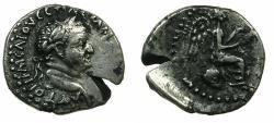 Ancient Coins - CAPPADOCIA.CAESAREA-EUSEBIA.Vespasian AD 69-79.AR. Hemidrachm.~#~.Victory seated on globe.