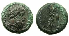 Ancient Coins - SICILY.SYRACUSE.Timoleon and the third Democracy 344-317 BC.AE.Hemilitron.1st series struck circa 344-339/8 BC.**Artistic bust of Zeus Eleftherios **
