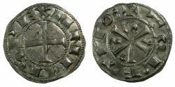 World Coins - SPAIN.Castile and Leon. Alfonso VI 1073-1109.Billon.Dinero.Christogram type. Mint of TOLEDO.