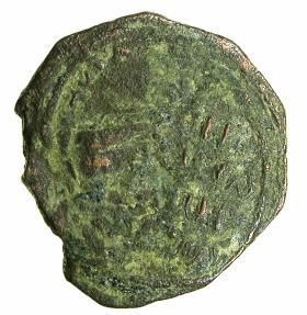 World Coins - CRUSADER STATES.Roger of Salerno Regent AD 1112-1119.AE.Follis.2nd Type. Virgin Orans. Interesting Triple stuck flan.