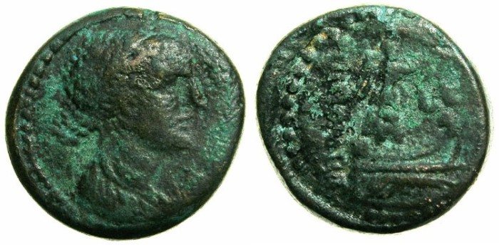 Ancient Coins - PTOLEMAIC EMPIRE.Cleopatra VII Thea 51-30 BC.Phoenician mint of TRIPOLIS.AE.20.3mm. ( Three examples recorded in RPC I )